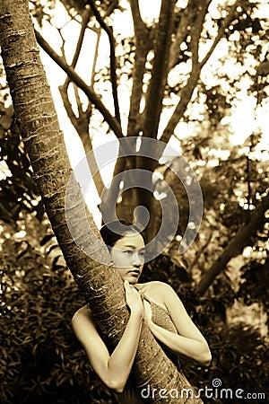 Menina asiática que abraça a árvore