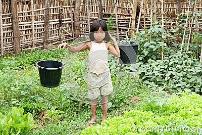 A menina asiática carreg a cubeta de água