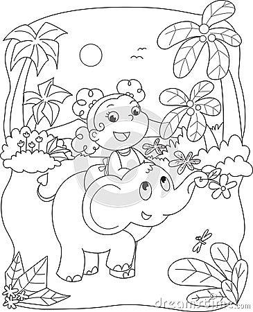 Menina bonito que monta um elefante