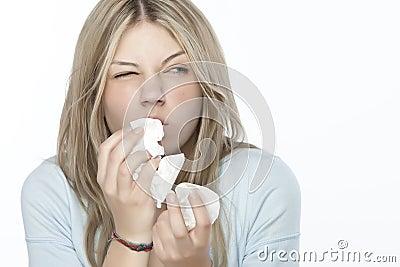 Menina com alergias