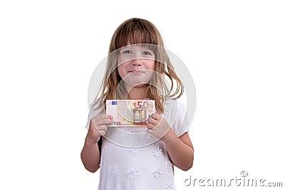 A menina com dinheiro nas mãos