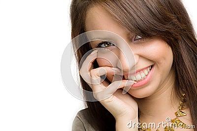 Menina com sorriso toothy