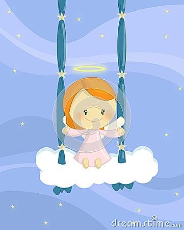 Menina de balanço do anjo