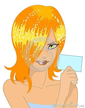 Menina do encanto com cartão