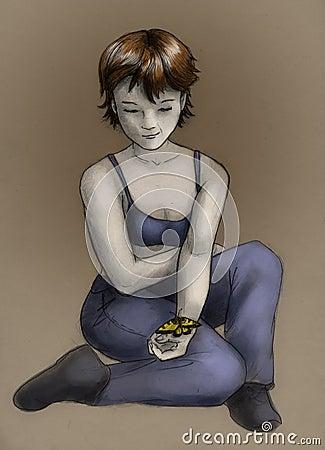 Menina do Tomboy com borboleta - cor
