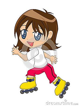 Menina dos desenhos animados em patins Inline