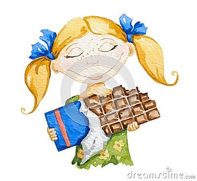 Menina feliz com uma barra de chocolate grande