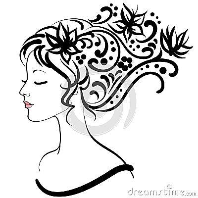 Menina floral da mola