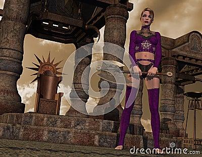 Menina gótico com machado da batalha