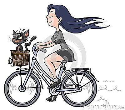 Dos Desenhos Animados Da Menina Moreno Um Gato Preto Na Bicicleta