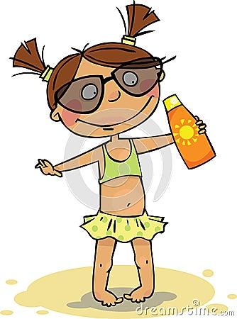 A menina na praia