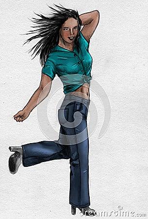Menina nas calças de brim - esboço