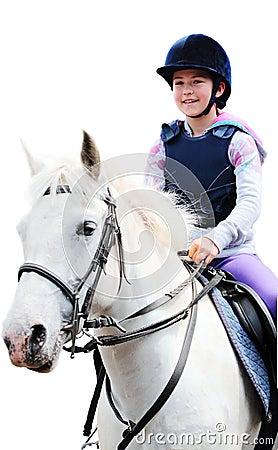 Menina no cavalo branco, fundo branco