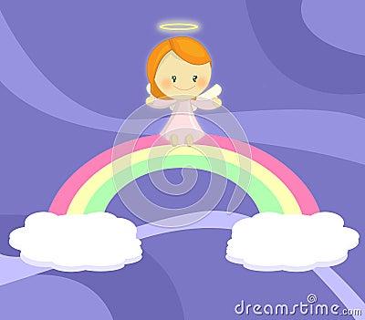 Menina pequena bonito do anjo assentada no arco-íris