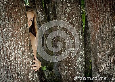 Menina que esconde atrás de uma árvore