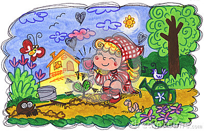 Menina que faz a jardinagem
