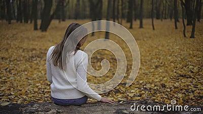 Menina que senta-se no parque do outono sozinho, pensando o relacionamento aproximadamente passado e quebrado filme
