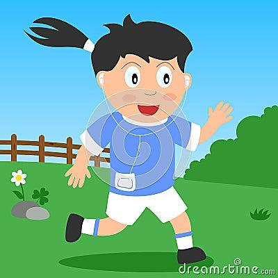 Menina Running no parque