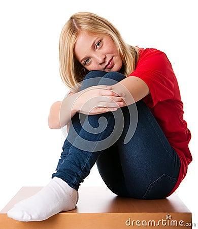 Menina só de sentimento do adolescente