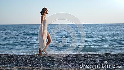Menina sedutora de férias enlatada desfrutando de atividade ao ar livre à noite cercada por ondas marítimas em movimento lento vídeos de arquivo