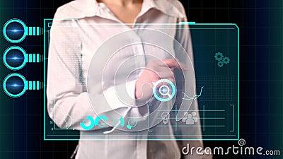 A menina seleciona na tela virtual a automatização do mercado da inscrição Conceito moderno do mercado ilustração do vetor