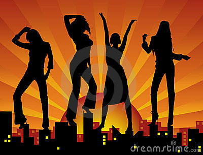 Meninas de dança na cidade