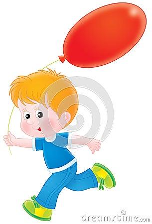 Menino com um balão vermelho