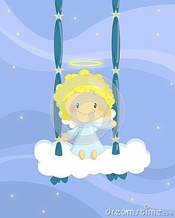 Menino de balanço do anjo