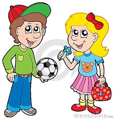 Menino e menina dos desenhos animados