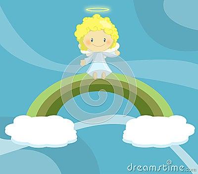Menino pequeno bonito do anjo assentado no arco-íris