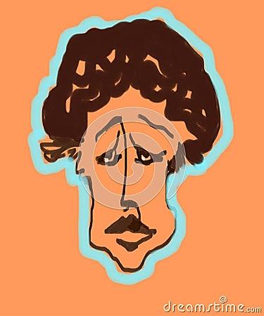 Menino triste dos desenhos animados