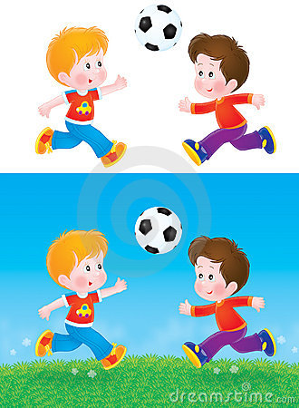 Meninos que jogam o futebol