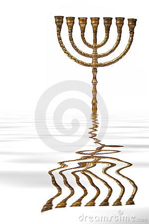 Menorah reflected on water