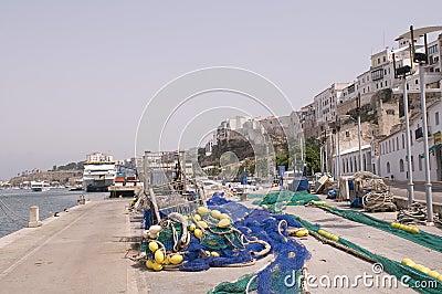 Menorca Mahon port fishing  boat