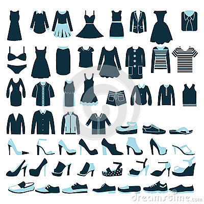 Free Mens And Women Clothes And Shoes Icons - Illustrat Royalty Free Stock Photos - 39997828