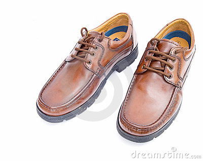 Mens  brown leather shoes on white.