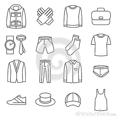 Free Mens Clothes Vector Line Icons Set Stock Image - 70223531