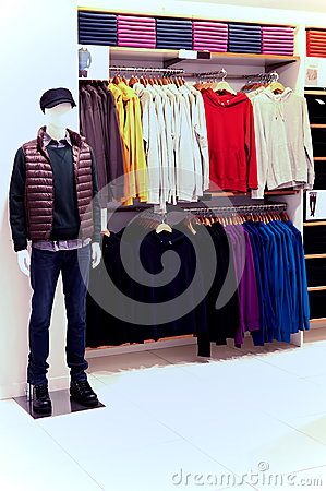 Trendy clothing for men on display at a retail store in hong kong