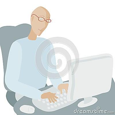 Mens die bij computer werkt.