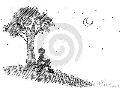 Mens die de maan bekijkt