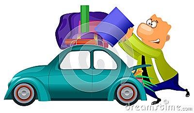 Mens die door auto voorbereidingen treft te reizen