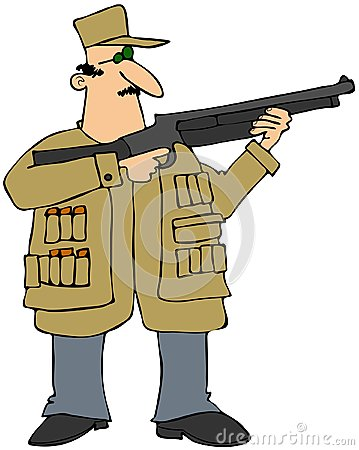 Mens die een jachtgeweer ontspruiten