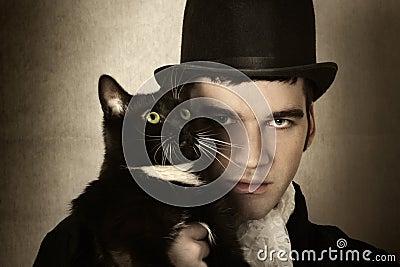Mens en kat