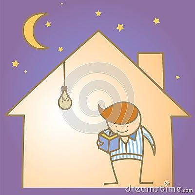 Mens in het warme en lichte huis