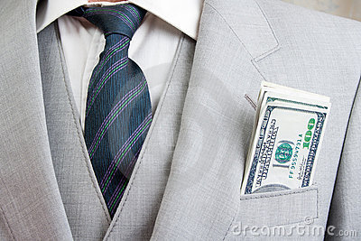Mens suit with money