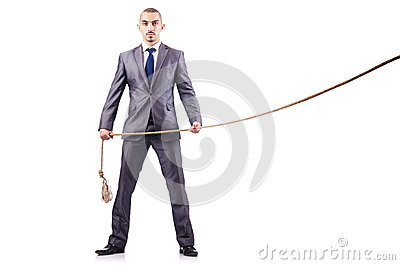 Mens in touwtrekwedstrijdconcept