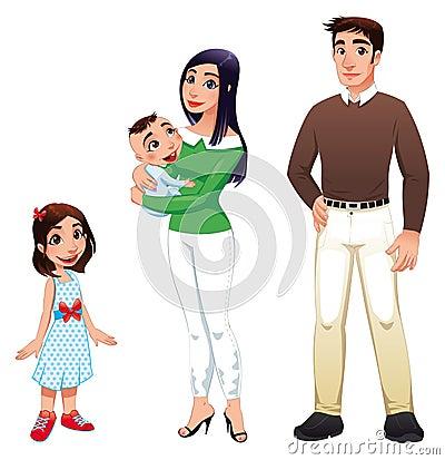 Menschliche Familie mit Mutter, Vater und Kindern.