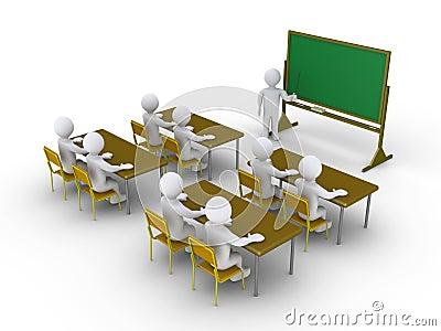 Mensen die aandacht besteden aan het klaslokaal