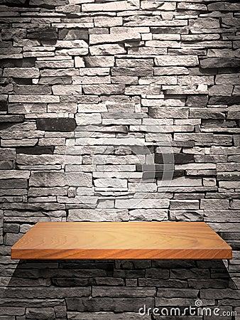 Mensola di legno sulla parete di pietra foto stock – 32 mensola di ...