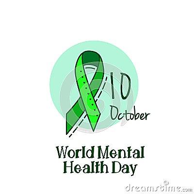 Mental Health Hepatitis B And Liver Cancer Or Non Hodgkin Lymphoma Awareness Green Ribbon Background Cartoon Vector